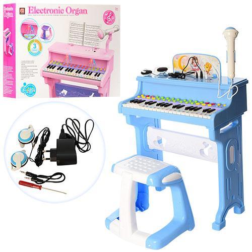 Детское пианино синтезатор на ножках со стульчиком и микрофоном CV8818-206AB работает от сети
