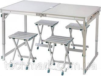 Усиленный стол для пикника раскладной с 4 металлическими стульями SunRise Vip-2108 (Серый)