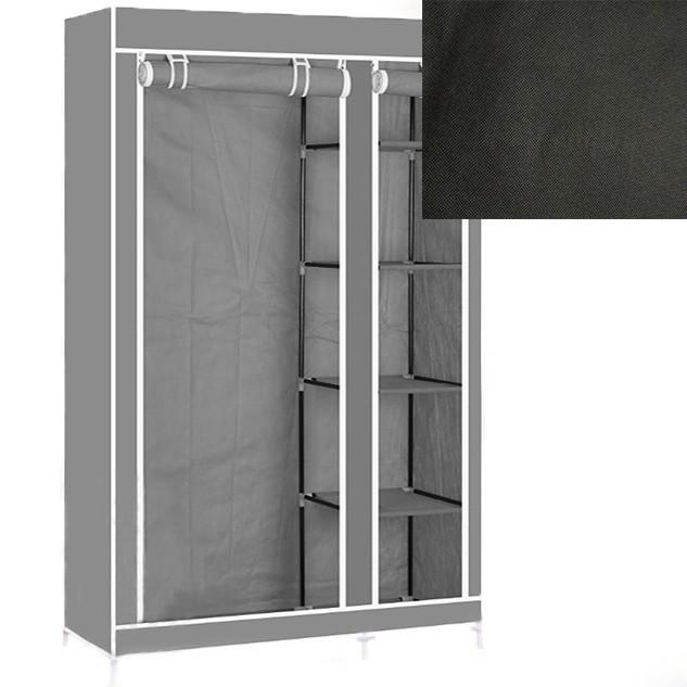 Портативний тканинний шафа-органайзер для одягу на 2 секції - чорний