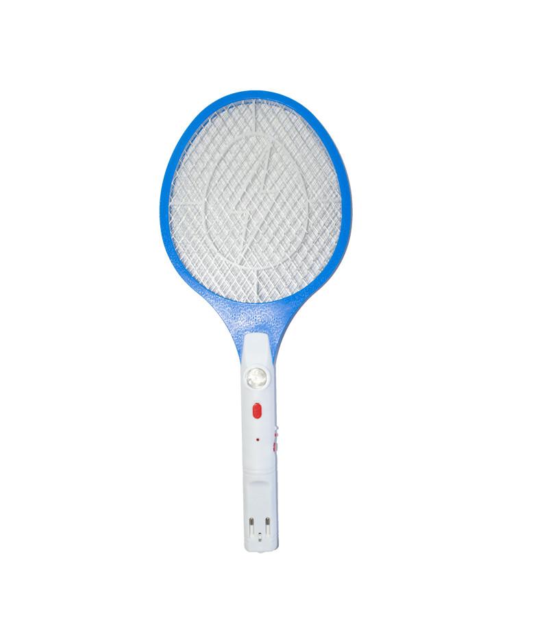 Электрическая мухобойка с фонариком Синяя, ракетка для убийства мух, комаров   електромухобійка (ST)