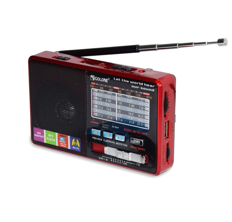 Радіо з MP3 плеєром від флешки, Golon RX-2277, Червоний, c USB + microsd і акумулятором