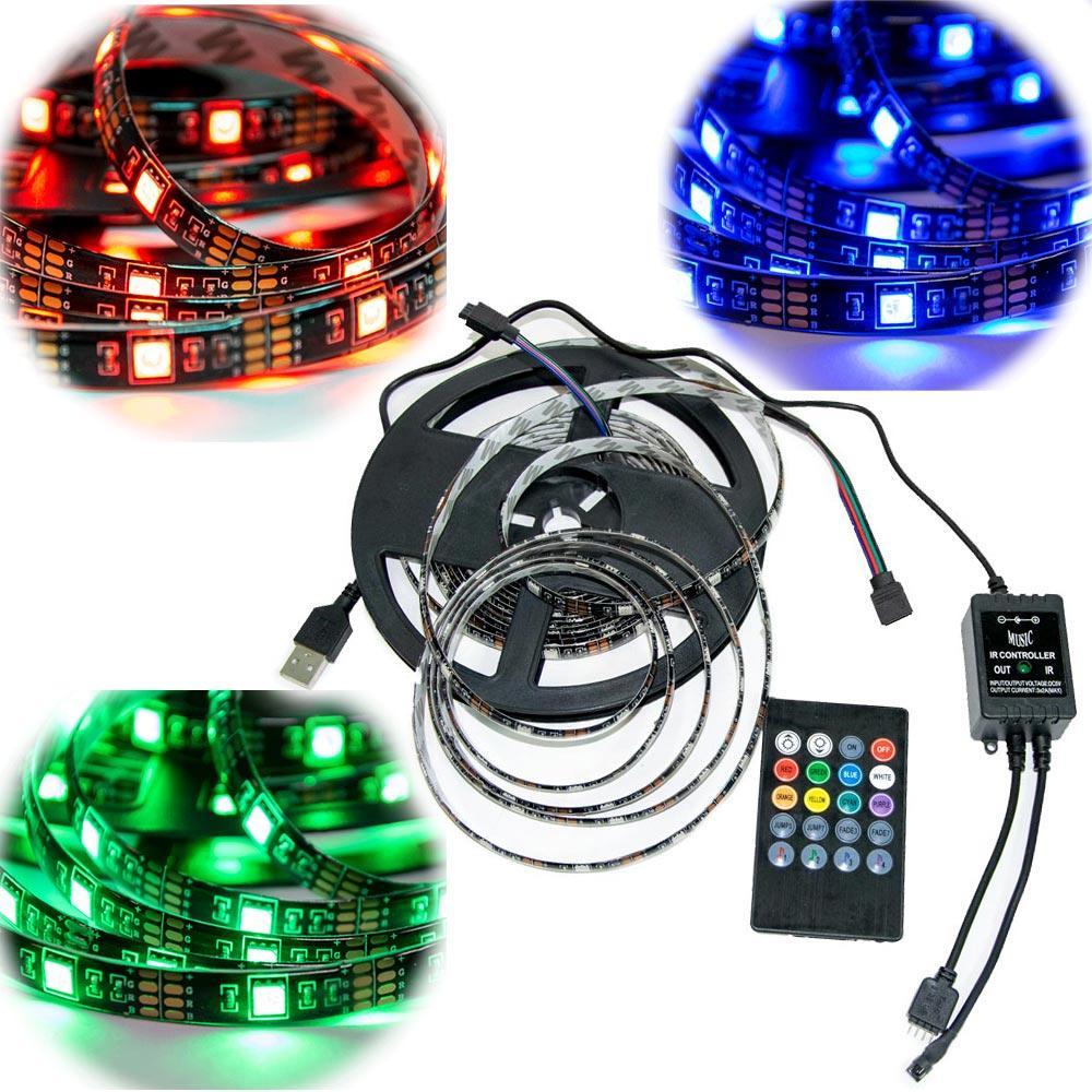 Світлодіодна стрічка з пультом rgb Led Strip 5050 на 5м. реагує на звук,   светодиодная лента