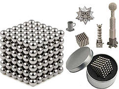 Конструктор из магнитных шариков, Неокуб Серебристый 216 шт*5мм, игрушка магнитные шарики (ST)