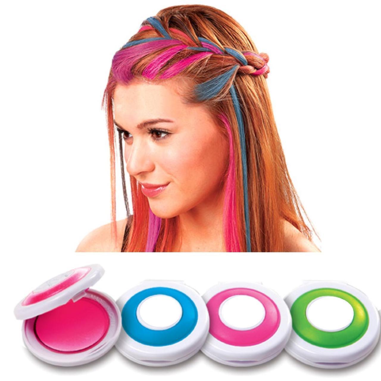 Мелки для волос Hot Huez 4 цвета, цветные мелки для окрашивания волос цветная пудра    крейда для волосся (ST)