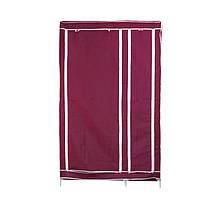 Портативный тканевый шкаф-органайзер для одежды на 2 секции - бордовый (ST)