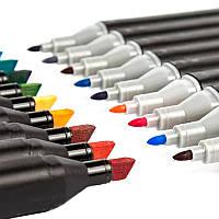 Набір скетч маркерів для малювання Touch Coco 24 шт./уп. (чорний корпус) двосторонні фломастери для скетчів, фото 1