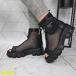 Босоножки ботинки летние на тракторной массивной платформе черные
