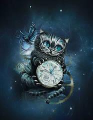"""Стрейч кулір принт """"Чеширський кіт"""" купон 75х180см. (діджитал) прихід 25.07"""