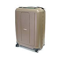 Прочный чемодан из полипропилена на защелках средний 70 л Airtex бежевый, фото 1