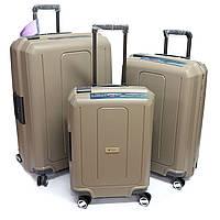 Комплект пластиковых чемоданов на защелках Airtex Jupiter бежевый, фото 1