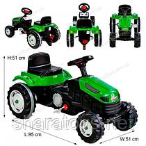 Детский трактор-велосипед с педалями зеленый