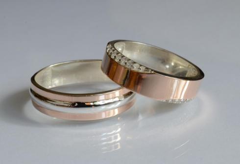 Пара срібних обручок з пластинами золота Обр11Обр32