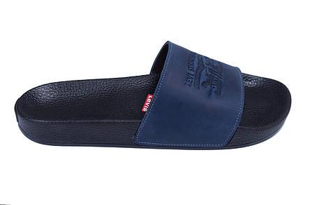 Мужские кожаные  летние шлепанцы Levis blue (реплика), фото 2