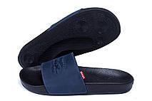 Мужские кожаные  летние шлепанцы Levis blue (реплика), фото 3