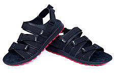 Мужские кожаные сандалии Найк Summer life black (реплика), фото 3