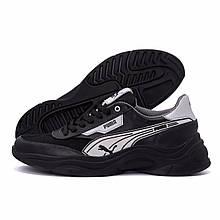 Мужские кожаные кроссовки Puma Anzarun Black (реплика)