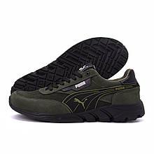 Мужские кожаные кроссовки Puma Anzarun Green (реплика)
