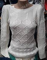Красивая вязаная женская кофта декорированная жемчужинами