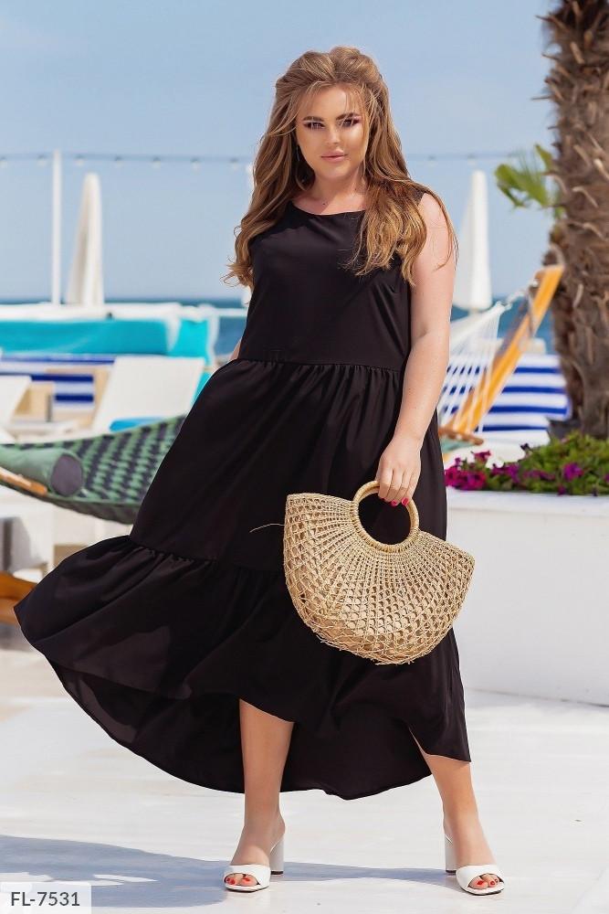 Летнее длинное платье в пол свободный крой без рукава большие размеры  р-ры 46-52 арт. 3057