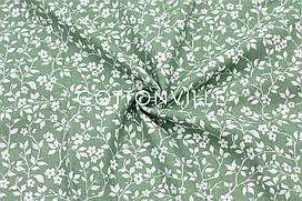 Муслин Цветочки травянисто-зеленый 160 см