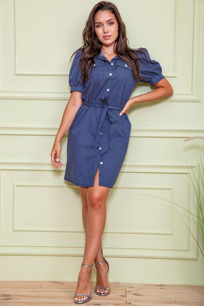 Сукня-сорочка 167R281 колір Синій 46
