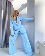 Женский костюм, костюмка люкс, р-р С-М; М-Л (голубой)