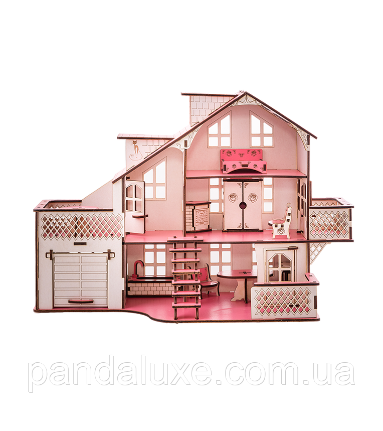 Детский кукольный дом с гаражом В011 и подсветкой, фото 2