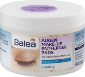 Влажные салфетки для снятия водостойкого макияжа Balea Augen Make-up Entfernerpads olhaltig 50 шт.