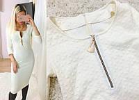 """Элегантное вечернее платье """"Косичка"""", материал шерсть и акрил, белое"""