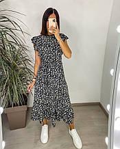 Женское платье, шелковый софт, р-р 42-44; 46-48 (чёрный)