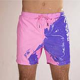 Шорти хамелеон для плавання, пляжні чоловічі спортивні шорти змінюють колір темно-синій Код 26-0015, фото 2