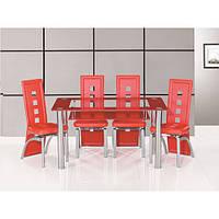 Красный обеденный стол из стекла
