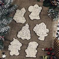 Деревянные игрушки на елку снеговики снегурочка и дед мороз