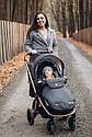 Дитяча коляска темно-сіра Carrello Epica 2в1 золота рама люлька прогулянковий блок сумка дощовик москітна сітка, фото 7