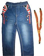 Джинсовые штаны на подтяжках для мальчиков Seagull оптом, размеры 98, арт. CSQ-88037