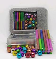 Магнитный конструктор Неокуб с палочками NeoCube Разноцветный Магнитные шарики