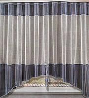 Тюль белая короткая сетка с цветным серым ламбрекеном., фото 1