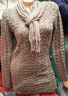 Кофта женская красивой вязки в комплекте с шарфом