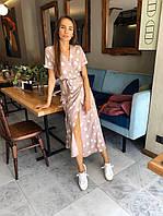 Платье миди Мохито женское летнеекрасивое на запах в крупный горошек Smfl6017