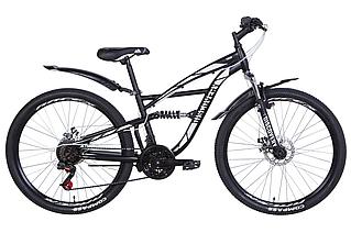 """Велосипед гірський двухподвесной 26"""" Discovery Tron AM DD 2021 рама 15"""" чорно-білий"""