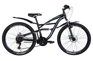 """Велосипед гірський двухподвесной 26"""" Discovery Tron AM DD 2021 рама 15"""" чорно-сірий з бірюзовим"""