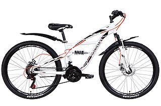 """Велосипед гірський двухподвесной 26"""" Discovery Tron AM DD 2021 рама 15"""" біло-чорний з оранжевим"""