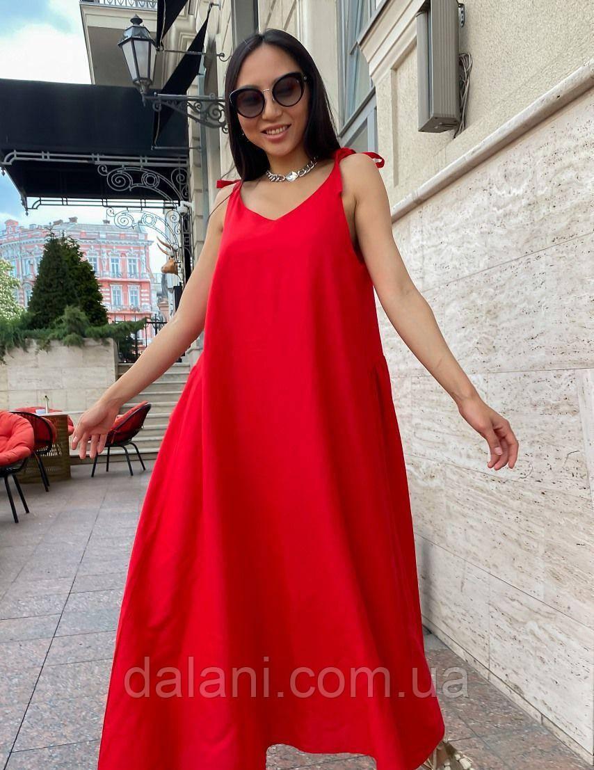 Жіночий довгий лляний червоний сарафан на зав'язках