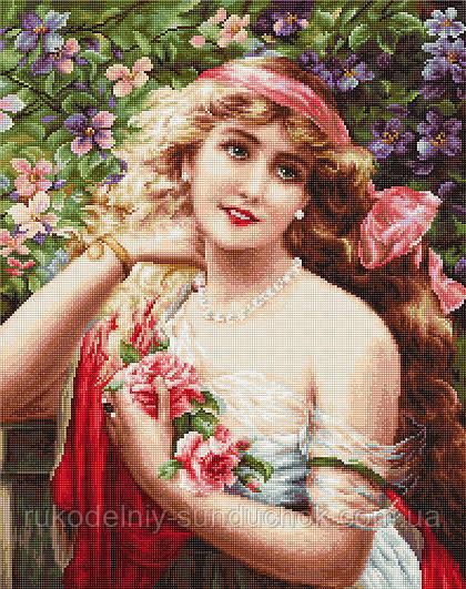 """Набір для вишивання хрестом """"Luca-s"""" B549 Дівчина з трояндами"""