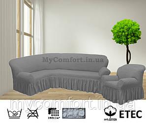 Чехол на угловой диван и кресло. Серый