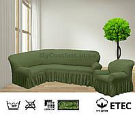 Чехол на угловой диван и кресло. Зелёный