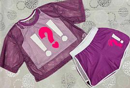 Костюм детский летний для девочек  #A340 purple. р-р 140-176. Цвет фиолетовый