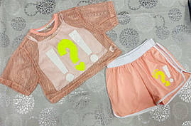 Костюм детский летний для девочек  #A340 powder. р-р 140-176. Цвет пудра