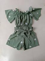 Костюм детский летний для девочек  #K34-1. р-р 128-152. Цвет зеленый