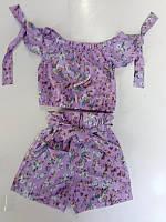 Костюм детский летний для девочек  #K28-3. р-р 104-128. Цвет фиолетовый